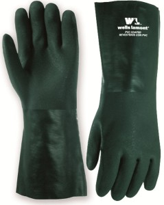 HEAVY PVC COATED GLOVES with 14 INCH GAUNTLET CUFF